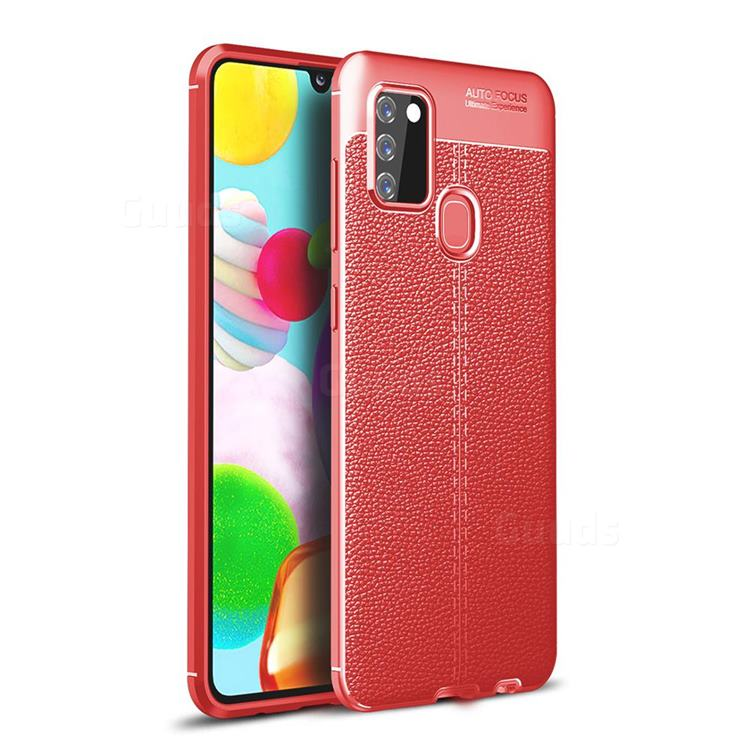 Luxury Auto Focus Litchi Texture Silicone TPU Back Cover for Samsung Galaxy A21s - Red