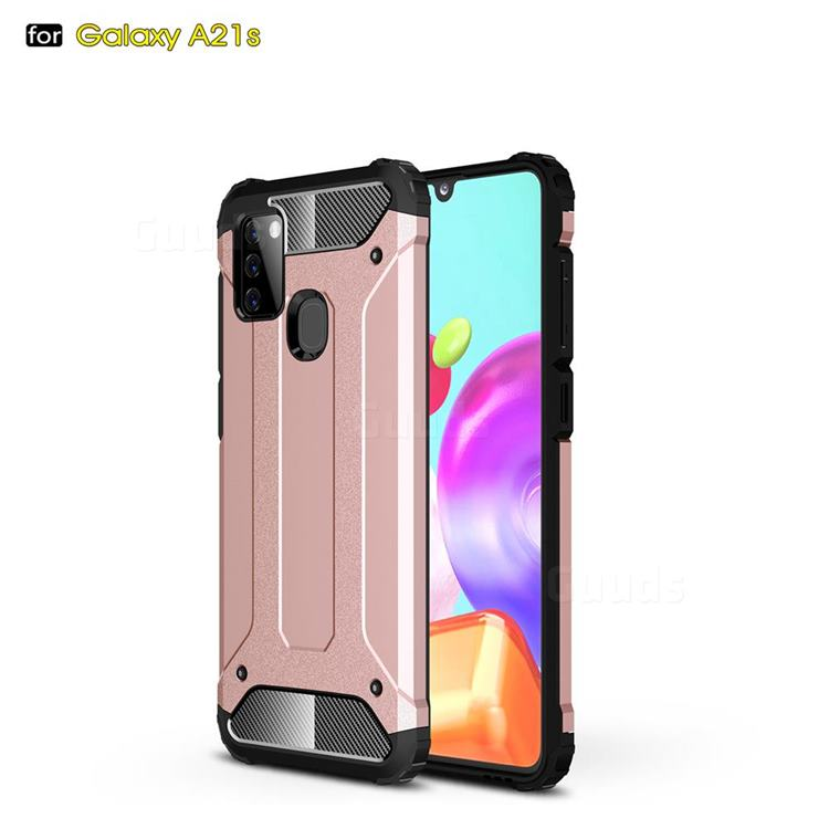King Kong Armor Premium Shockproof Dual Layer Rugged Hard Cover for Samsung Galaxy A21s - Rose Gold