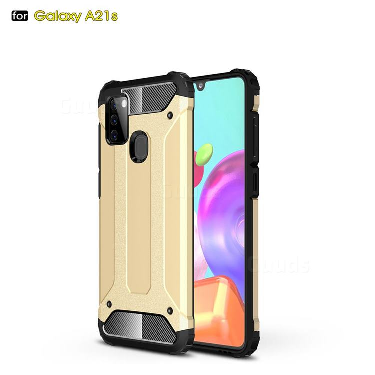King Kong Armor Premium Shockproof Dual Layer Rugged Hard Cover for Samsung Galaxy A21s - Champagne Gold
