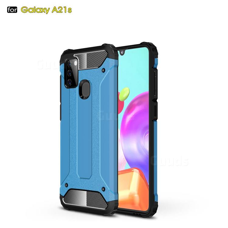 King Kong Armor Premium Shockproof Dual Layer Rugged Hard Cover for Samsung Galaxy A21s - Sky Blue