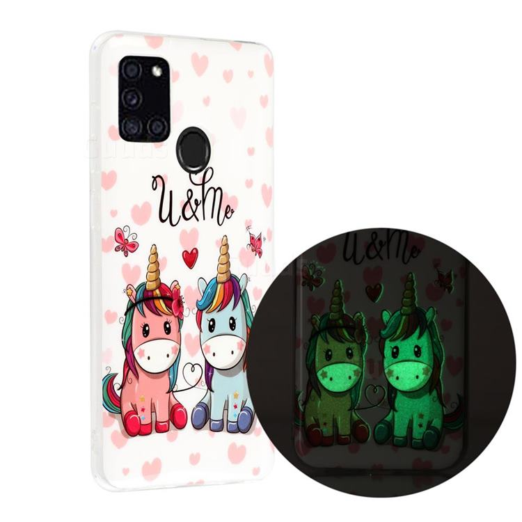 Couple Unicorn Noctilucent Soft TPU Back Cover for Samsung Galaxy A21s