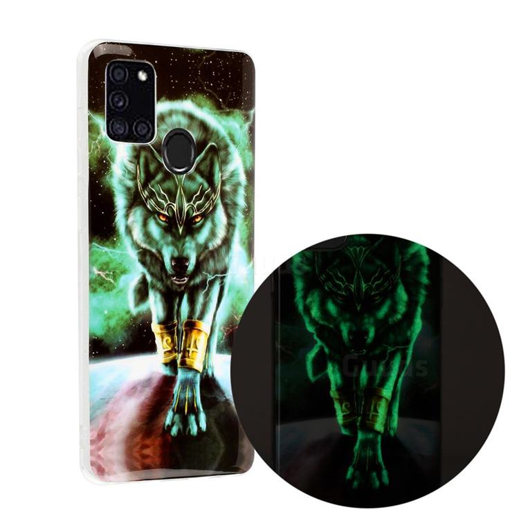 Wolf King Noctilucent Soft TPU Back Cover for Samsung Galaxy A21s