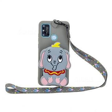 Gray Elephant Neck Lanyard Zipper Wallet Silicone Case for Samsung Galaxy A21s