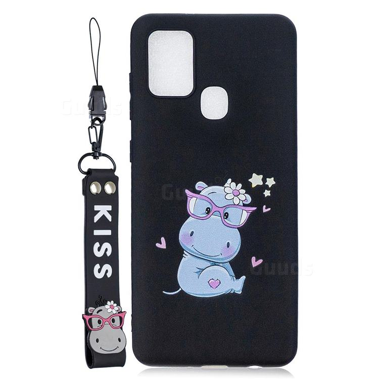 Black Flower Hippo Soft Kiss Candy Hand Strap Silicone Case for Samsung Galaxy A21s
