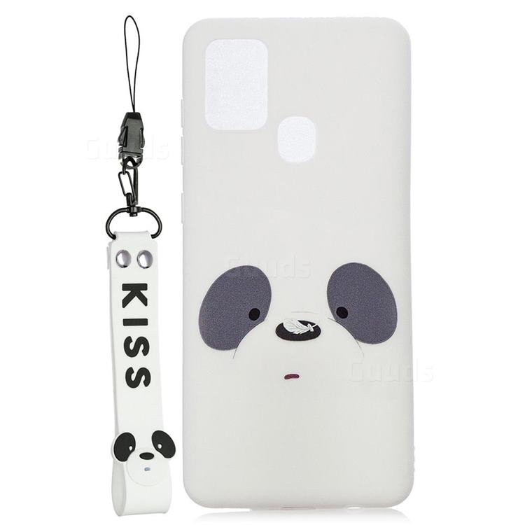 White Feather Panda Soft Kiss Candy Hand Strap Silicone Case for Samsung Galaxy A21s