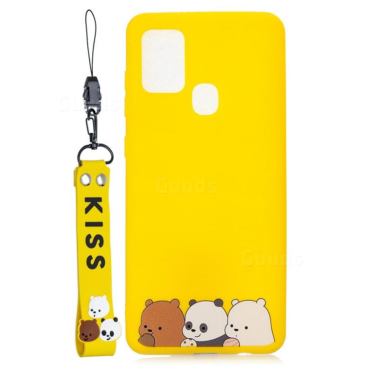 Yellow Bear Family Soft Kiss Candy Hand Strap Silicone Case for Samsung Galaxy A21s