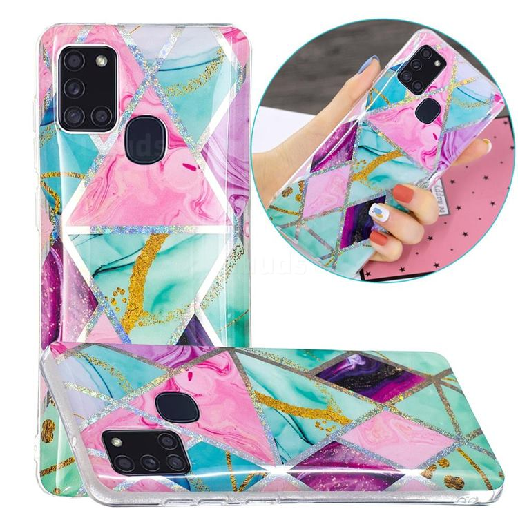Triangular Marble Painted Galvanized Electroplating Soft Phone Case Cover for Samsung Galaxy A21s