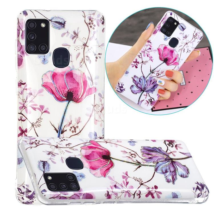 Magnolia Painted Galvanized Electroplating Soft Phone Case Cover for Samsung Galaxy A21s