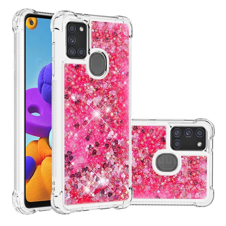 Dynamic Liquid Glitter Sand Quicksand TPU Case for Samsung Galaxy A21s - Pink Love Heart