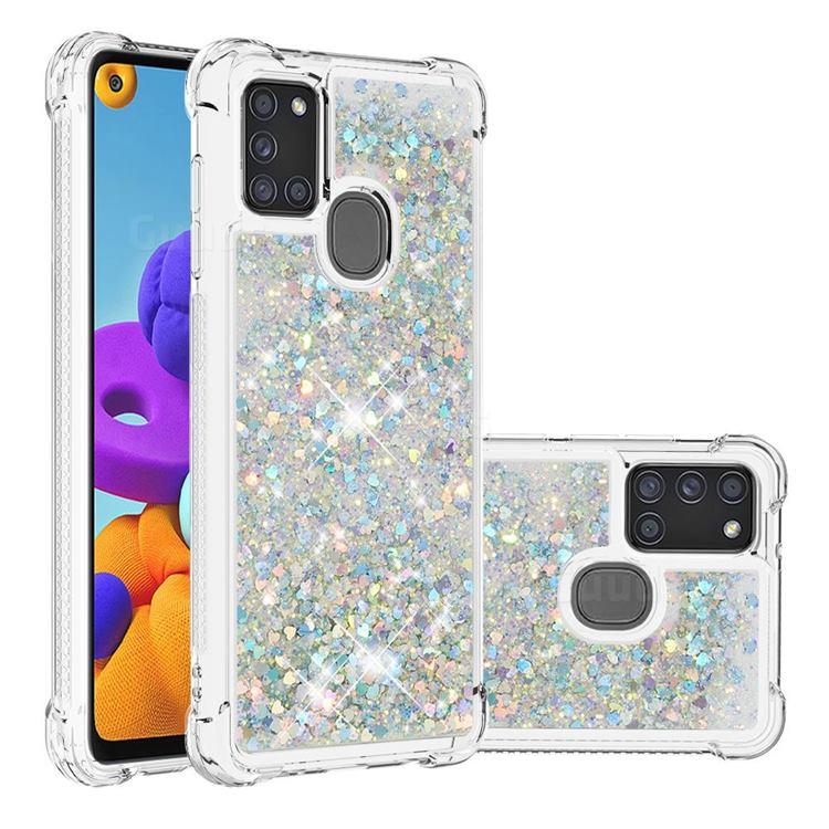 Dynamic Liquid Glitter Sand Quicksand Star TPU Case for Samsung Galaxy A21s - Silver