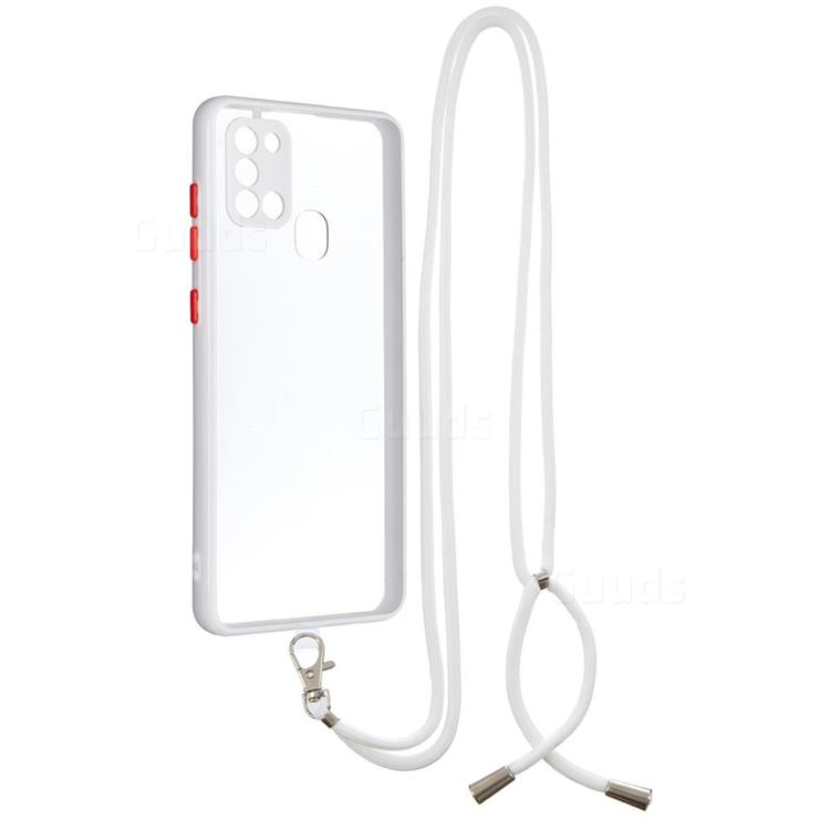 Necklace Cross-body Lanyard Strap Cord Phone Case Cover for Samsung Galaxy A21s - White