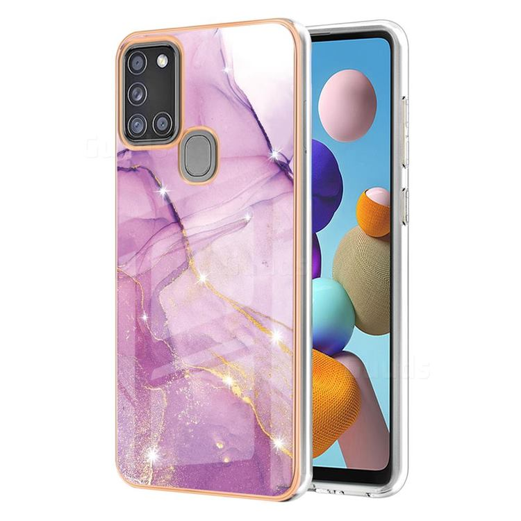 Dream Violet Electroplated Gold Frame 2.0 Thickness Plating Marble IMD Soft Back Cover for Samsung Galaxy A21s