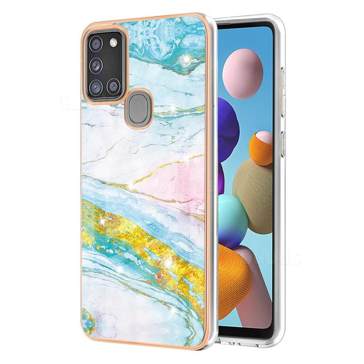 Green Golden Electroplated Gold Frame 2.0 Thickness Plating Marble IMD Soft Back Cover for Samsung Galaxy A21s
