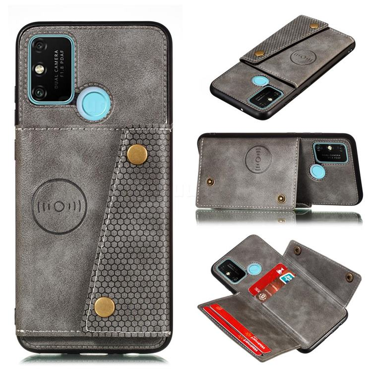 Retro Multifunction Card Slots Stand Leather Coated Phone Back Cover for Samsung Galaxy A21s - Gray