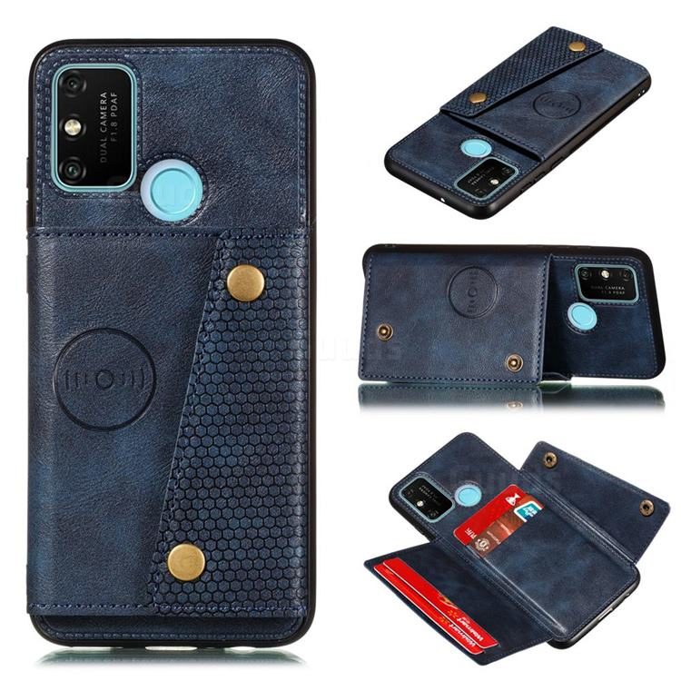 Retro Multifunction Card Slots Stand Leather Coated Phone Back Cover for Samsung Galaxy A21s - Blue