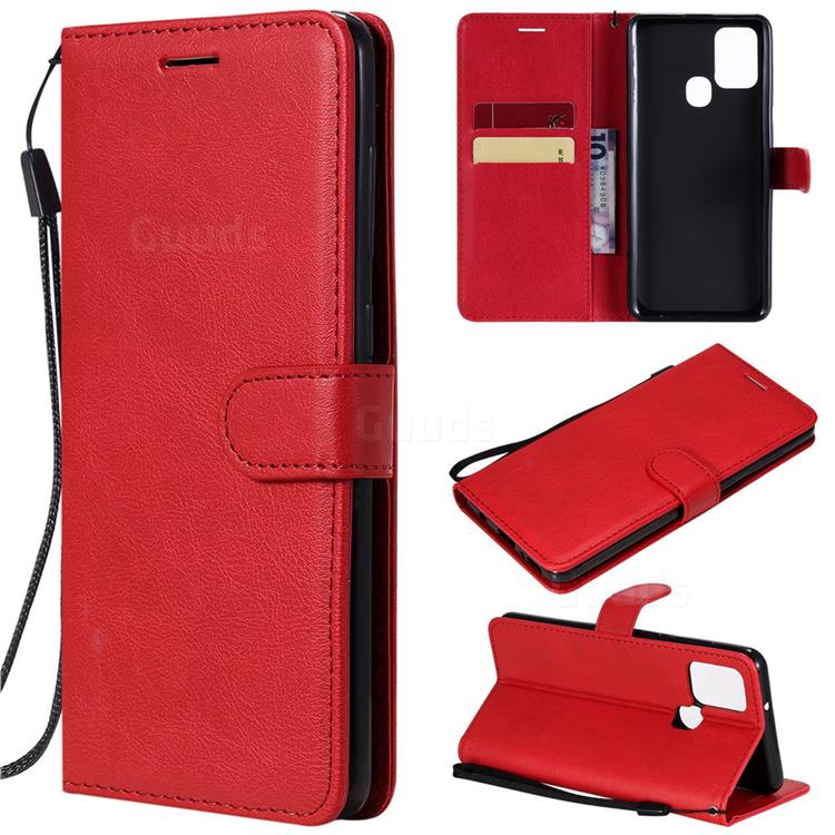 Retro Greek Classic Smooth PU Leather Wallet Phone Case for Samsung Galaxy A21s - Red