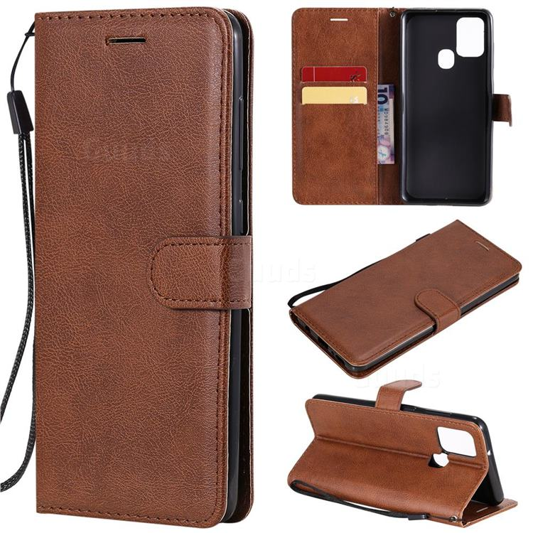 Retro Greek Classic Smooth PU Leather Wallet Phone Case for Samsung Galaxy A21s - Brown