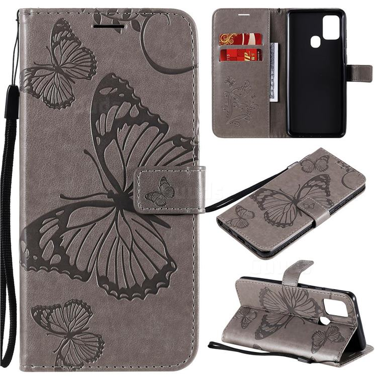 Embossing 3D Butterfly Leather Wallet Case for Samsung Galaxy A21s - Gray