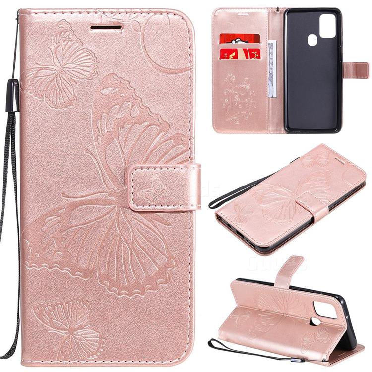Embossing 3D Butterfly Leather Wallet Case for Samsung Galaxy A21s - Rose Gold