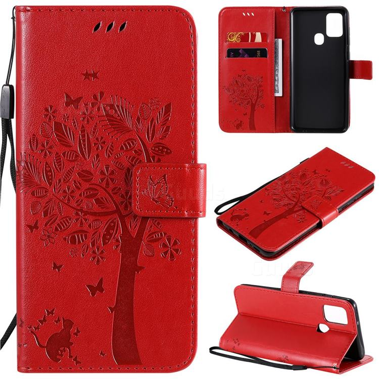 Embossing Butterfly Tree Leather Wallet Case for Samsung Galaxy A21s - Red