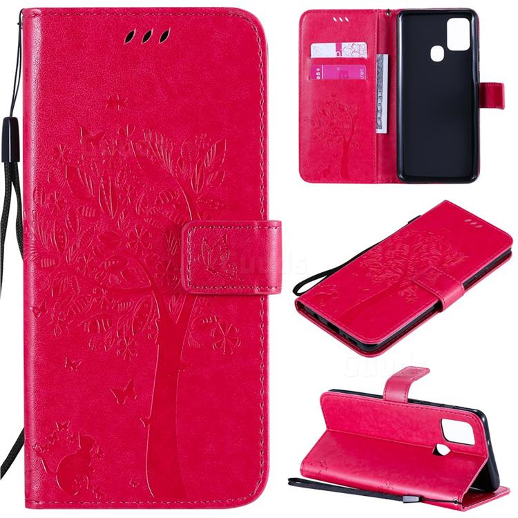 Embossing Butterfly Tree Leather Wallet Case for Samsung Galaxy A21s - Rose