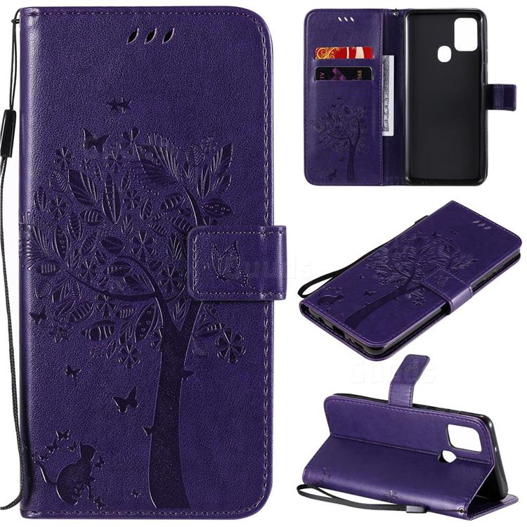 Embossing Butterfly Tree Leather Wallet Case for Samsung Galaxy A21s - Purple