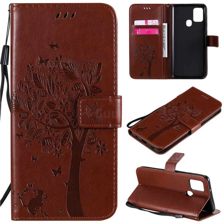 Embossing Butterfly Tree Leather Wallet Case for Samsung Galaxy A21s - Coffee