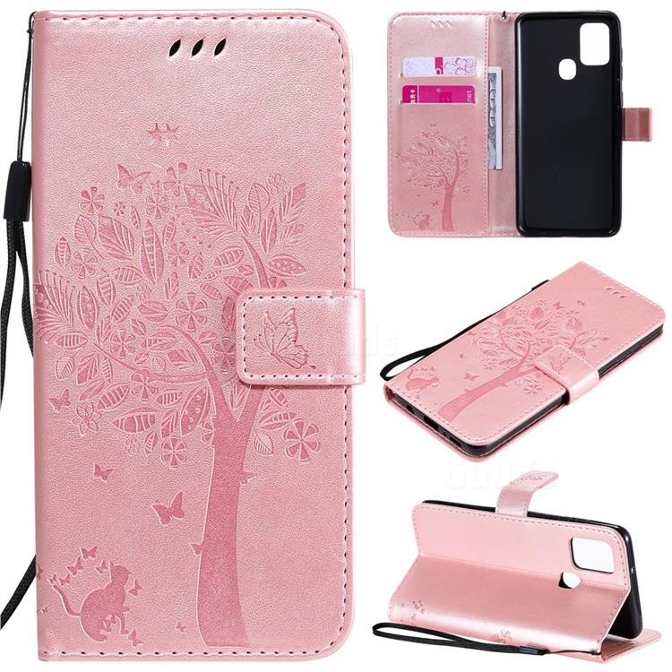 Embossing Butterfly Tree Leather Wallet Case for Samsung Galaxy A21s - Rose Pink