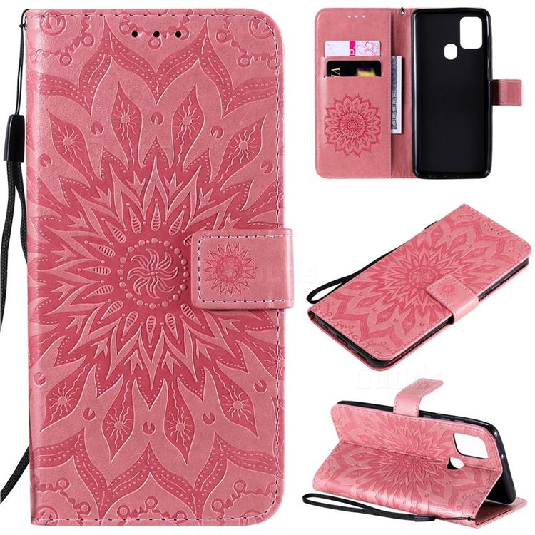 Embossing Sunflower Leather Wallet Case for Samsung Galaxy A21s - Pink