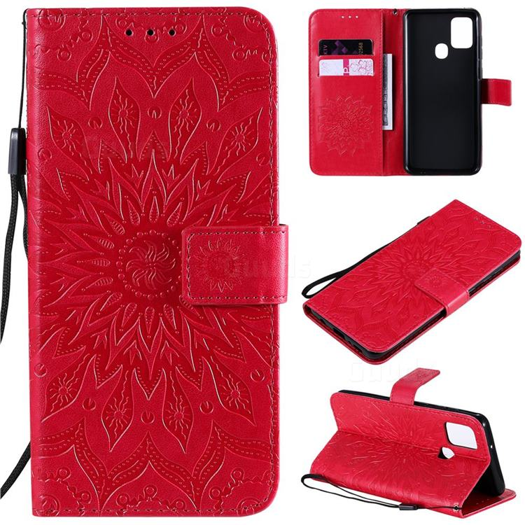 Embossing Sunflower Leather Wallet Case for Samsung Galaxy A21s - Red