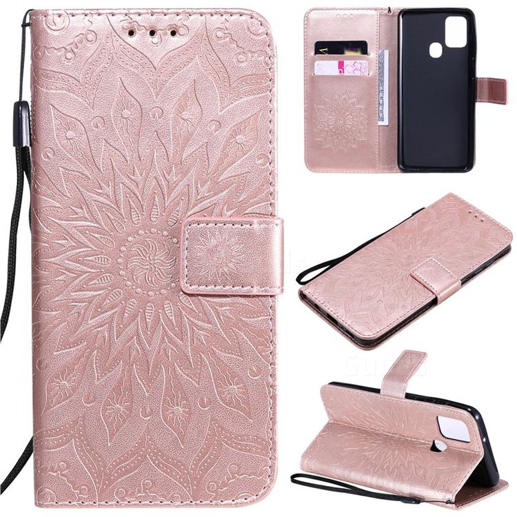 Embossing Sunflower Leather Wallet Case for Samsung Galaxy A21s - Rose Gold