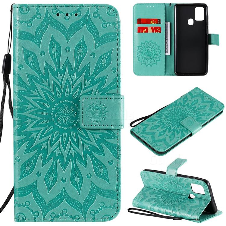 Embossing Sunflower Leather Wallet Case for Samsung Galaxy A21s - Green