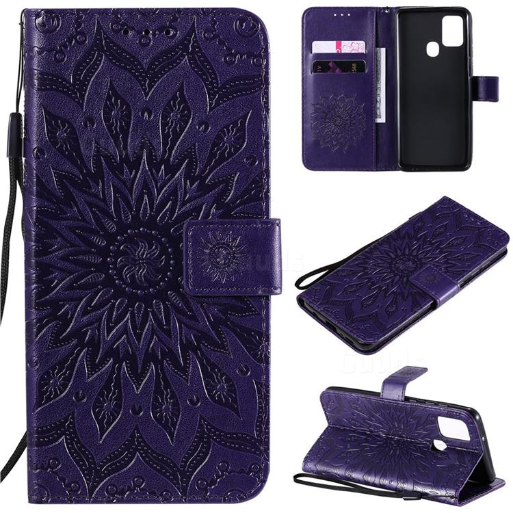Embossing Sunflower Leather Wallet Case for Samsung Galaxy A21s - Purple