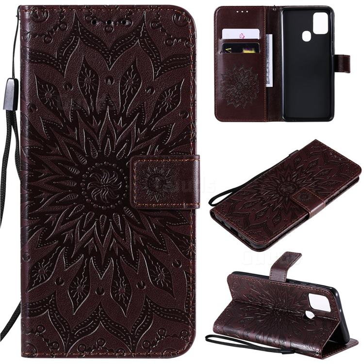 Embossing Sunflower Leather Wallet Case for Samsung Galaxy A21s - Brown