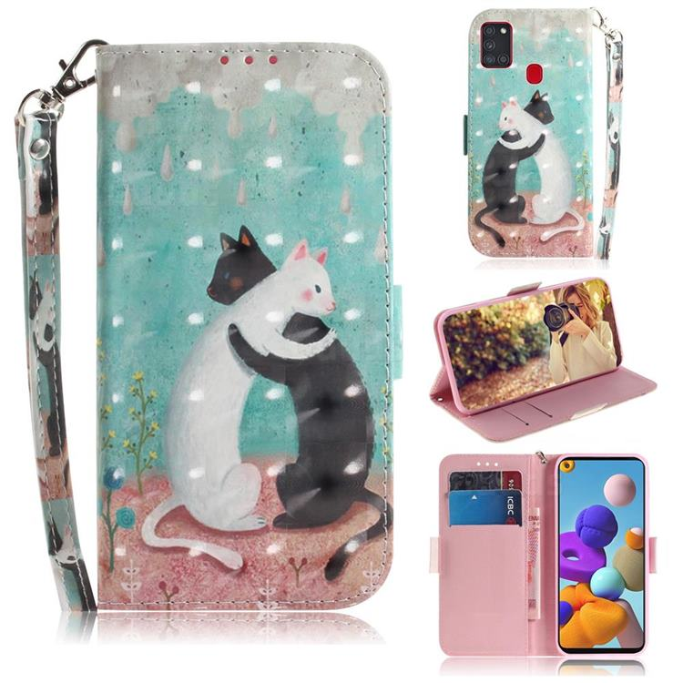 Black and White Cat 3D Painted Leather Wallet Phone Case for Samsung Galaxy A21s