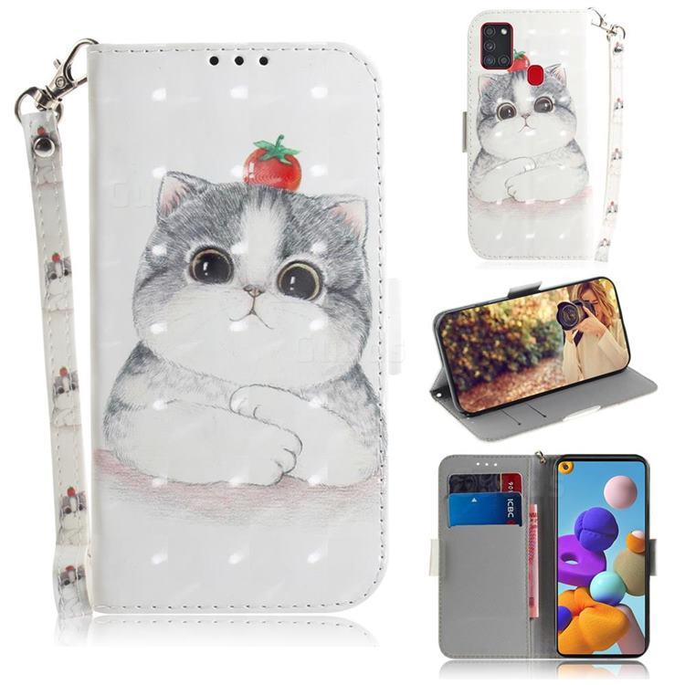 Cute Tomato Cat 3D Painted Leather Wallet Phone Case for Samsung Galaxy A21s