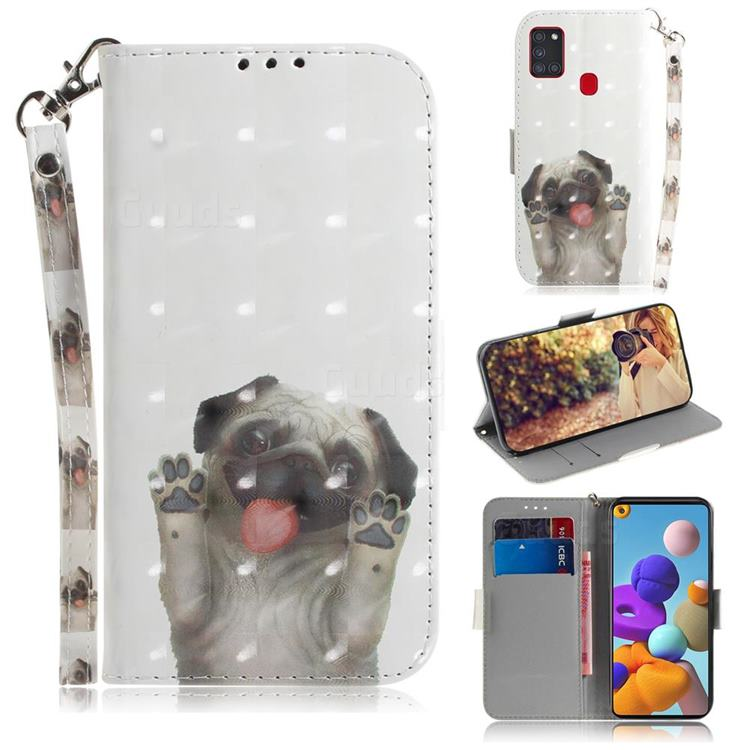 Pug Dog 3D Painted Leather Wallet Phone Case for Samsung Galaxy A21s