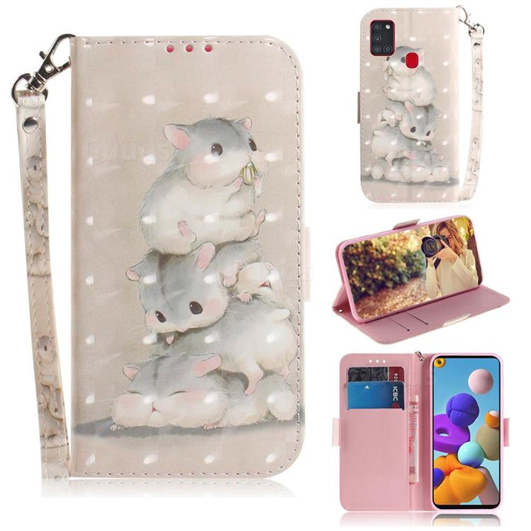 Three Squirrels 3D Painted Leather Wallet Phone Case for Samsung Galaxy A21s