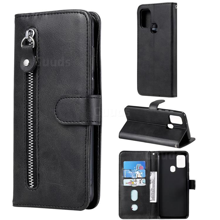 Retro Luxury Zipper Leather Phone Wallet Case for Samsung Galaxy A21s - Black