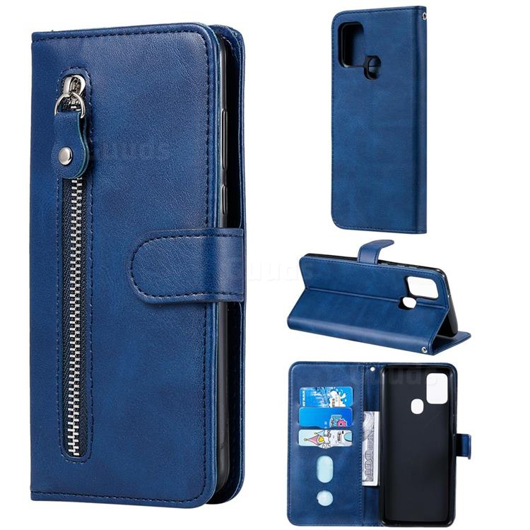Retro Luxury Zipper Leather Phone Wallet Case for Samsung Galaxy A21s - Blue