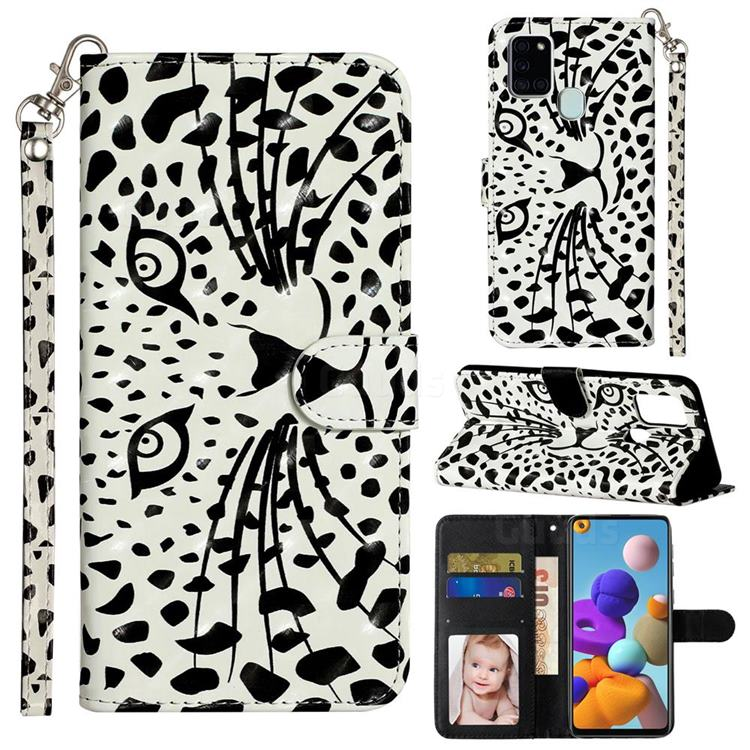 Leopard Panther 3D Leather Phone Holster Wallet Case for Samsung Galaxy A21s