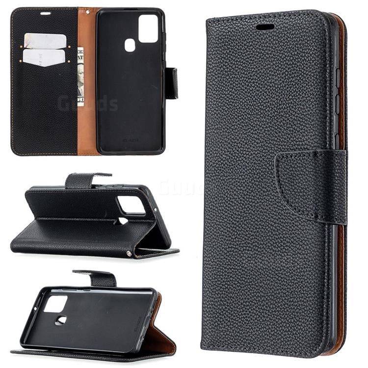 Classic Luxury Litchi Leather Phone Wallet Case for Samsung Galaxy A21s - Black