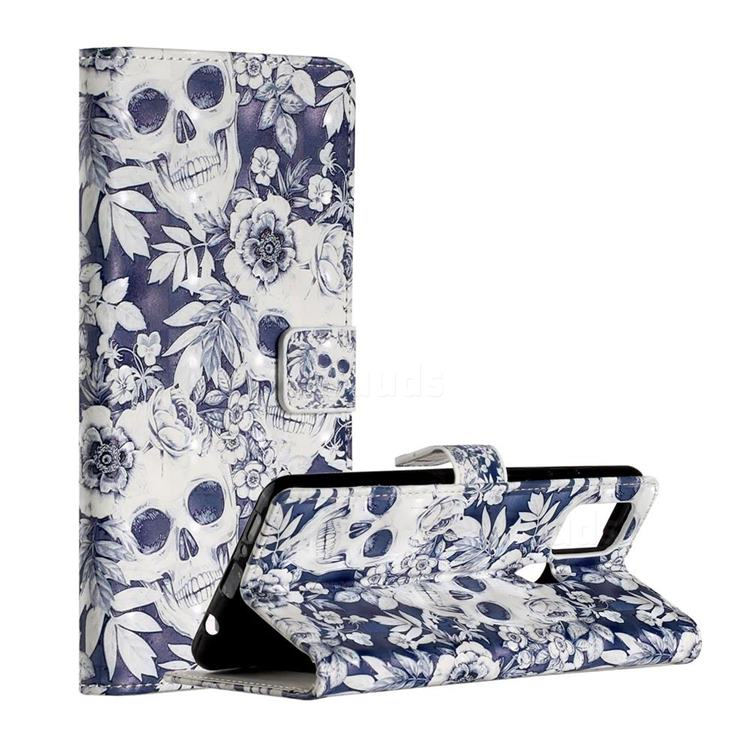 Skull Flower 3D Painted Leather Phone Wallet Case for Samsung Galaxy A21s