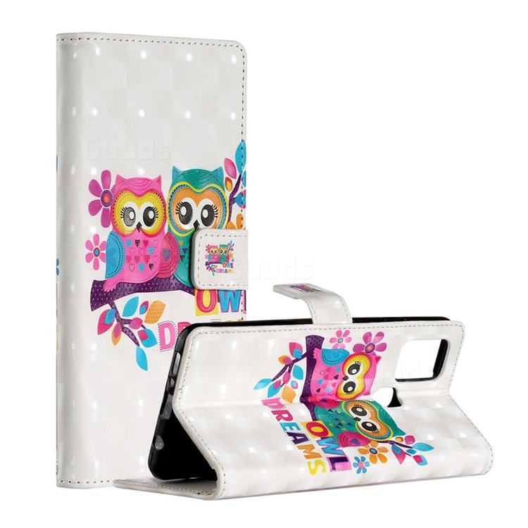 Couple Owl 3D Painted Leather Phone Wallet Case for Samsung Galaxy A21s