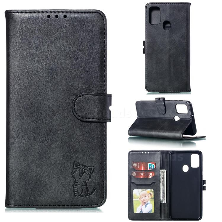Embossing Happy Cat Leather Wallet Case for Samsung Galaxy A21s - Black