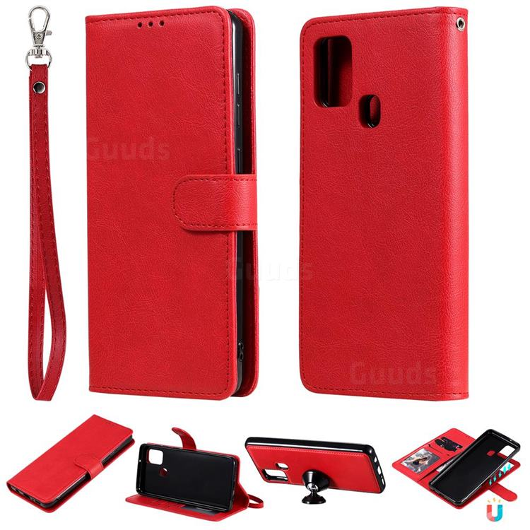 Retro Greek Detachable Magnetic PU Leather Wallet Phone Case for Samsung Galaxy A21s - Red