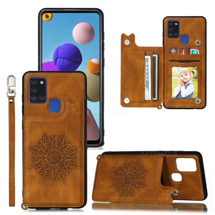 Luxury Mandala Multi-function Magnetic Card Slots Stand Leather Back Cover for Samsung Galaxy A21s - Brown