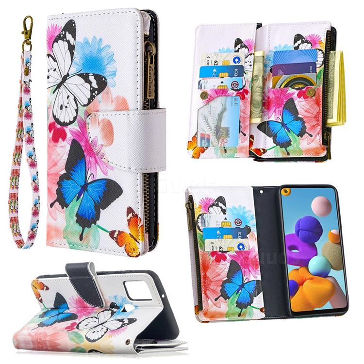 Vivid Flying Butterflies Binfen Color BF03 Retro Zipper Leather Wallet Phone Case for Samsung Galaxy A21s