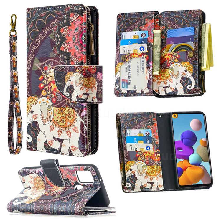 Totem Flower Elephant Binfen Color BF03 Retro Zipper Leather Wallet Phone Case for Samsung Galaxy A21s