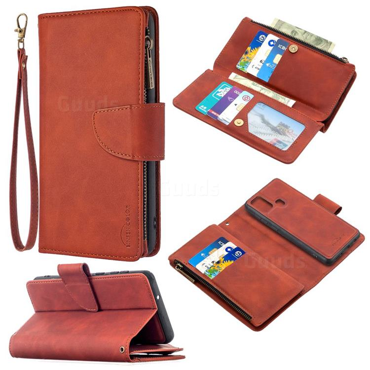 Binfen Color BF02 Sensory Buckle Zipper Multifunction Leather Phone Wallet for Samsung Galaxy A21s - Brown